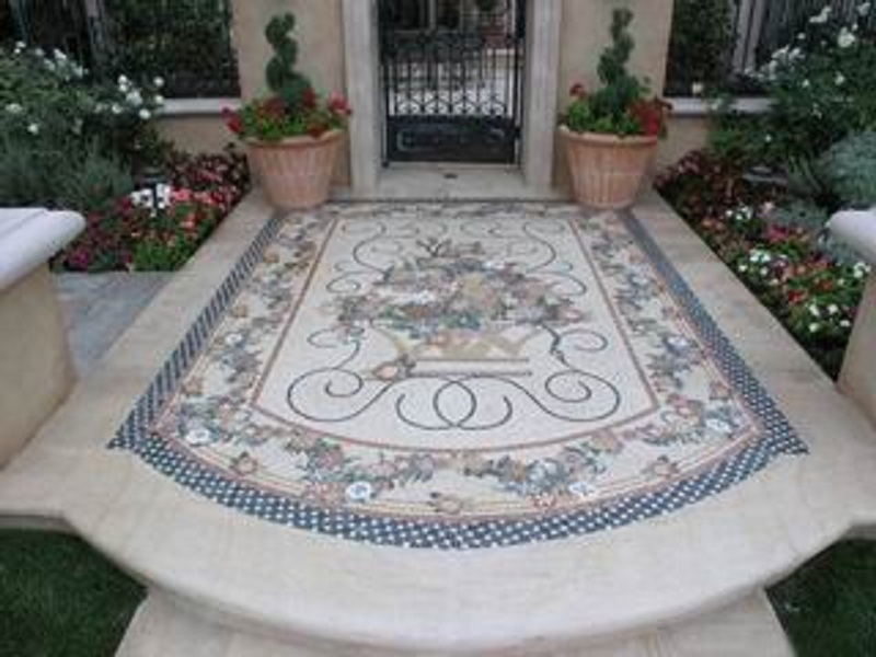 Custom Designed Handcrafted Marble Mosaic Entry way