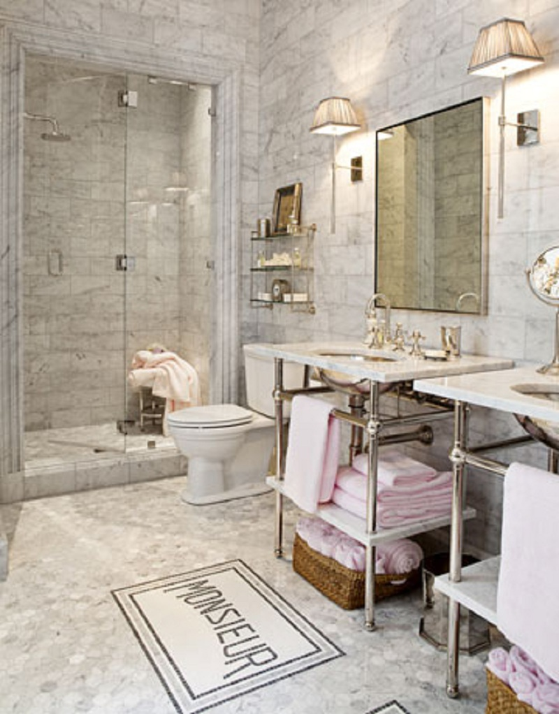 French Marble Mosaic Bathroom