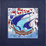 Galleon in Navy Blue Leather Frame HLF 009