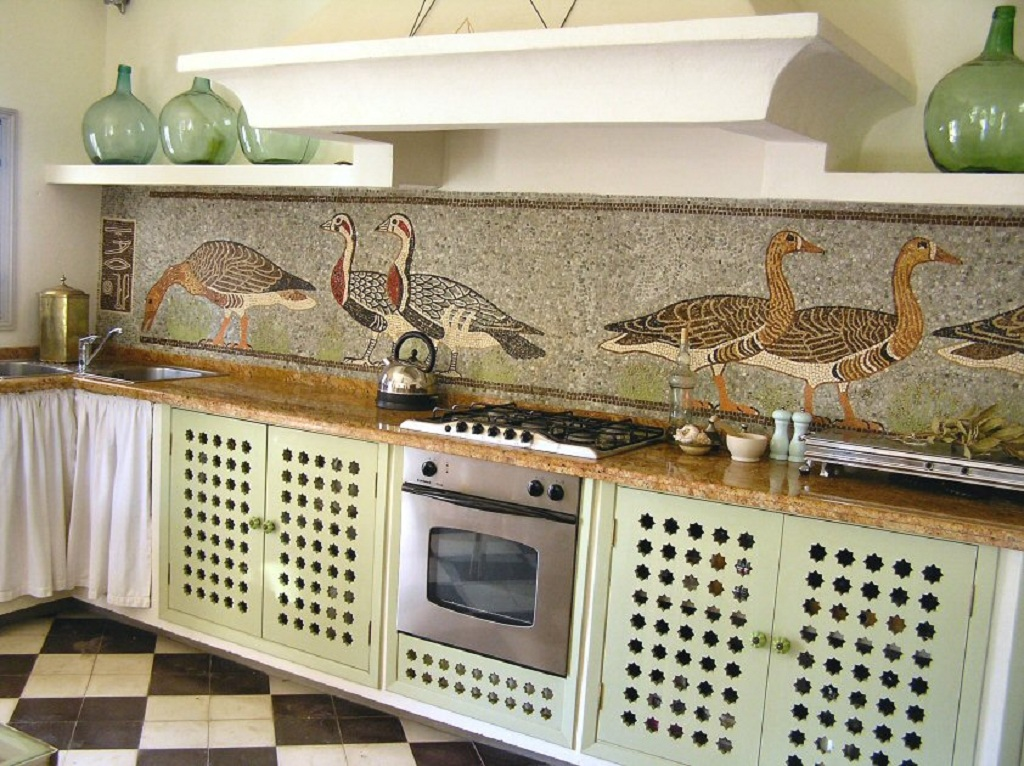 handcrafted marble mosaic kitchen backsplash tile