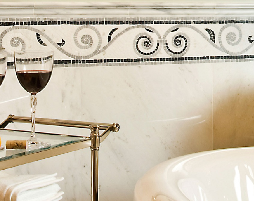 Luxury Find This Pin And More On Country Bath Ideas This Woven Mosaic Tile Is A Perfect Complement To The Bathrooms Style And Will Wear Well To Stretch Your Budget, Surround Decorative Tile With More Affordable Plain Tile Around The Perimeter