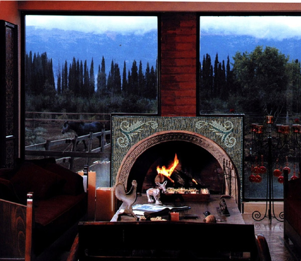 Marble Mosaic Fireplace