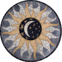 Sun Moon and Stars Marble Mosaic Medallion