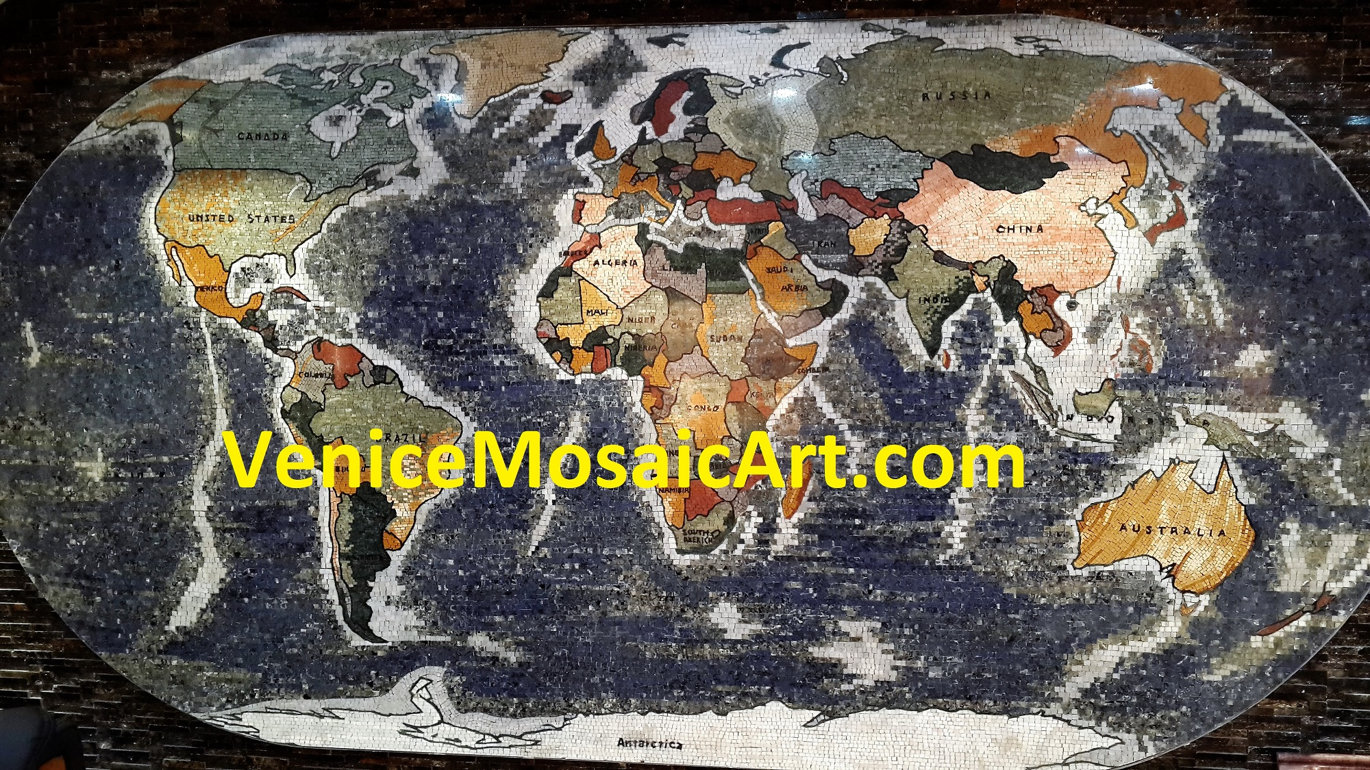 Marble Mosaic World Map