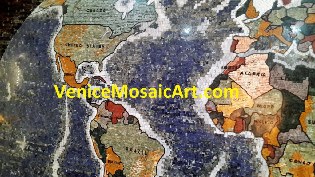 World Map with Marble Mosaic  Tiles