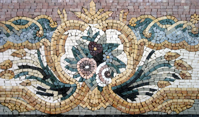 Custom Designed Marble Mosaic Border Tiles Venice Mosaic